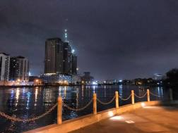 The breezy Pasig River Paseo Soledad at night.